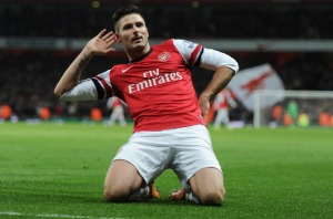 LONDON, ENGLAND - NOVEMBER 23: Olivier Giroud celebrates scoring the 2nd Arsenal goal during the match at Emirates Stadium on November 23, 2013 in London, England. (Photo by Stuart MacFarlane/Arsenal FC via Getty Images)